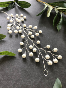 Pearl Bridal Hair Vine | Classic Pearl Bridal Headpiece, Wedding Hair Accessory