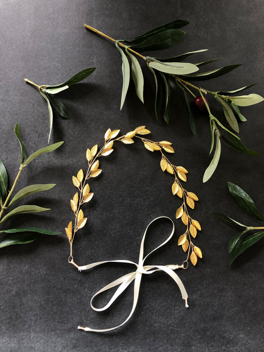 Gold Leaf Bridal Hair Vine for Short Hair | Classic Bridal Headband, Braid Wreath, Braid Vine