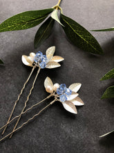 Load image into Gallery viewer, SILVER & Light Blue Crystal Hair Pins (1+) | Something Blue Pins, Pearl Bridal Hair Pins