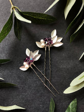 Load image into Gallery viewer, Silver & Amethyst Crystal Hair Pins (1+) | Amethyst Bridal Hair Pins, Pearl Headpiece