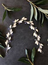 Load image into Gallery viewer, Silver & Tanzanite Crystal Braid Vine | Purple Swarovski Crystal Hair Vine, Bridal Hair Wreath