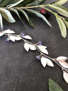 Silver & Tanzanite Crystal Braid Vine | Purple Swarovski Crystal Hair Vine, Bridal Hair Wreath