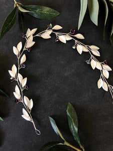Silver & Amethyst Crystal Bridal Braid Vine | Purple Swarovski Crystal Hair Vine, Hair Wreath