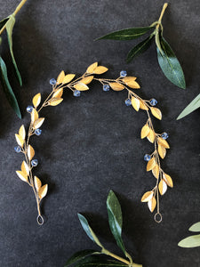 Something Blue and Gold Bridal Hair Wreath | Light Blue Bridal Hair Vine, Festival Braid Vine
