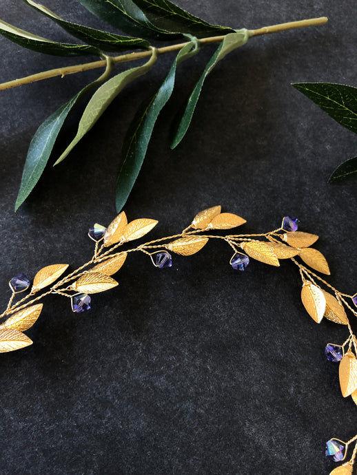 Gold & Tanzanite Crystal Braid Vine | Swarovski Crystal Hair Vine, Bridal Hair Wreath, Braid Vine