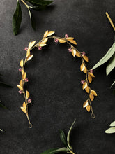 Load image into Gallery viewer, Gold & Light Rose Crystal Braid Vine | Pink Swarovski Crystal Hair Vine, Bridal Hair Vine