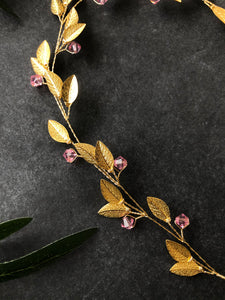 Gold & Light Rose Crystal Braid Vine | Pink Swarovski Crystal Hair Vine, Bridal Hair Vine