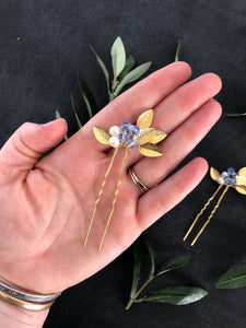GOLD & Light Blue Crystal Hair Pins (1+) | Date Night Hair Pins, Pearl Bridal Hair Pins