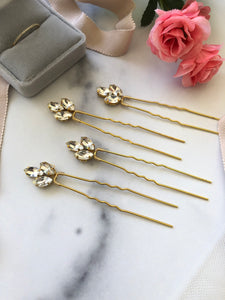 Crystal UPDO Hair Pins | Gold Bridal Pins, Sparkling Rhinestone Updo Hair Pins