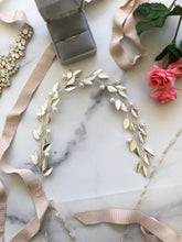 Load image into Gallery viewer, SILVER & IVORY Pearl Bridal Hair Vine | Feather Hair Vine, Freshwater Pearl Festival Braid Vine