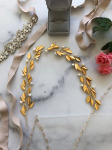 GOLD & IVORY Pearl Bridal Hair Vine | Feather Hair Vine, Freshwater Pearl Festival Braid Vine