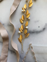 Load image into Gallery viewer, GOLD & IVORY Pearl Bridal Hair Vine | Feather Hair Vine, Freshwater Pearl Festival Braid Vine