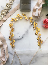 Load image into Gallery viewer, GOLD & BLUSH Pearl Bridal Hair Vine | Feather Bridal Hair Vine, Freshwater Pearl Festival Braid Vine