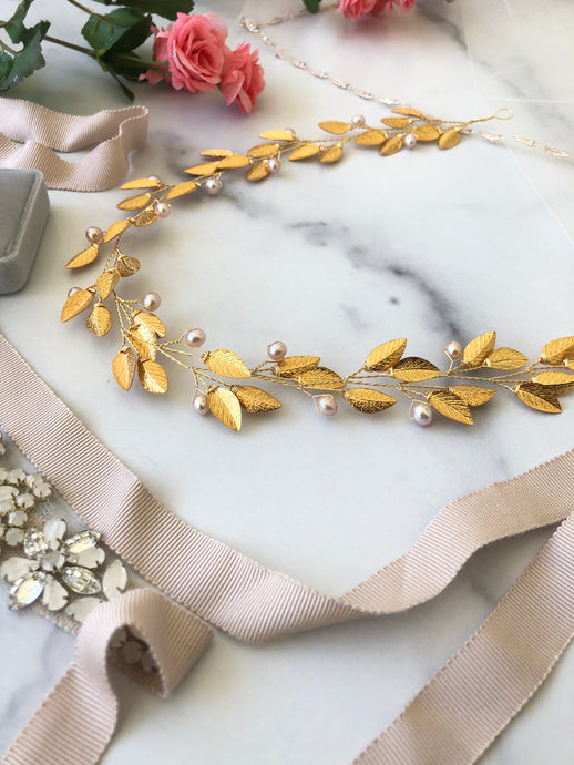 GOLD & BLUSH Pearl Bridal Hair Vine | Feather Bridal Hair Vine, Freshwater Pearl Festival Braid Vine