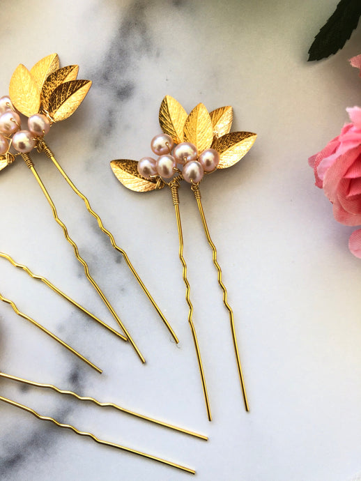 GOLD & BLUSH Pearl Flower Hair Pins | Berry Bridal Hair Berry, Freshwater Pearl Braid Vine