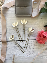Load image into Gallery viewer, Classic Silver Updo Hair Pins (1+) | Silver Leaf Hair Pins, Minimalist Hair Accessories