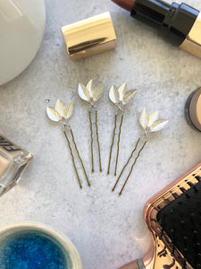 Classic Silver Updo Hair Pins (3+) | Silver Leaf Hair Pins, Minimalist Hair Accessories