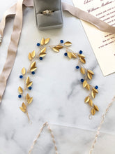 Load image into Gallery viewer, Something Blue Bridal Hair Wreath | GOLD & BLUE Feather Bridal Hair Vine, Festival Braid Vine