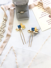 Load image into Gallery viewer, GOLD Something Blue Pins (1+) | Pearl & Crystal Hair Pins, Blue and Gold Date Night Pins