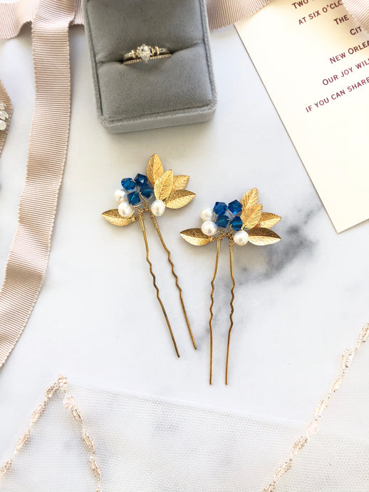 GOLD Something Blue Pins (1+) | Pearl & Crystal Hair Pins, Blue and Gold Bridal Pins