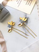 Load image into Gallery viewer, GOLD & Light Blue Crystal Hair Pins (1+) | Something Blue Pins, Pearl Bridal Hair Pins