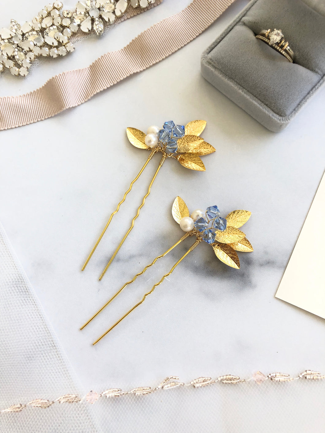 GOLD & Light Blue Crystal Hair Pins (1+) | Something Blue Pins, Pearl Bridal Hair Pins