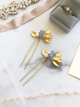 Load image into Gallery viewer, GOLD & Light Blue Crystal Hair Pins (1+) | Date Night Hair Pins, Pearl Bridal Hair Pins