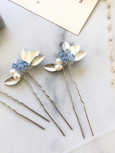 SILVER & Light Blue Crystal Hair Pins (1+) | Something Blue Pins, Pearl Bridal Hair Pins