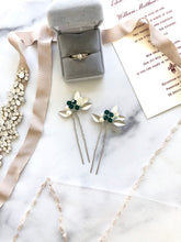 Load image into Gallery viewer, SILVER & Emerald Crystal Hair Pins (1+) | Emerald Green Bridal Hair Pins, Pearl Headpiece