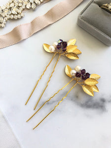 GOLD & Amethyst Crystal Hair Pins (1+) | Amethyst Bridal Hair Pins, Pearl Headpiece