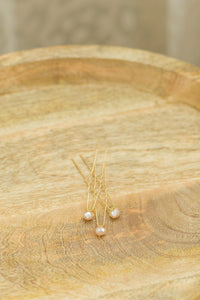 BRANDIE - Blush Faceted Freshwater Pearl Hairpins (SET OF 3 PINS)