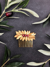 Load image into Gallery viewer, NATALY | Gold & Cranberry Freshwater Pearl Hair Comb, Decorative Hair Comb, Short Hair Comb