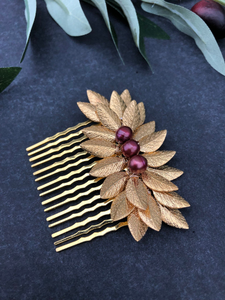 NATALY | Gold & Cranberry Freshwater Pearl Hair Comb, Decorative Hair Comb, Short Hair Comb