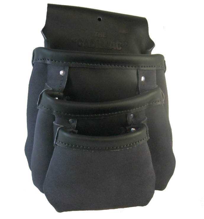 Triple Pocket 100% Leather Drywall Nail Pouch
