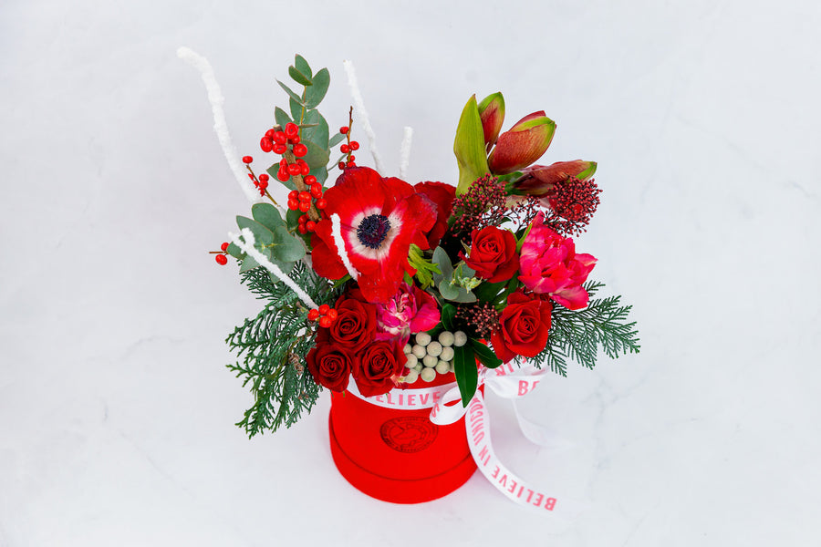 Red Christmas flower box