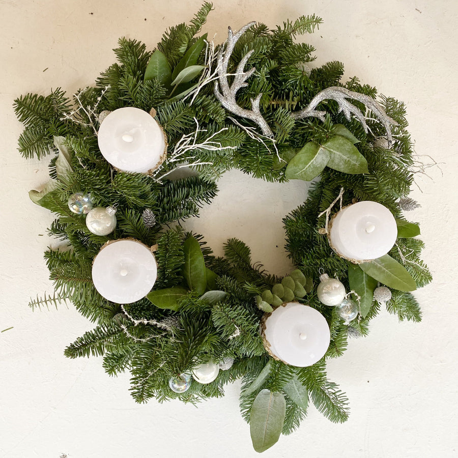 Christmas fir wreath in White colour with Gold lace, ⌀45cm