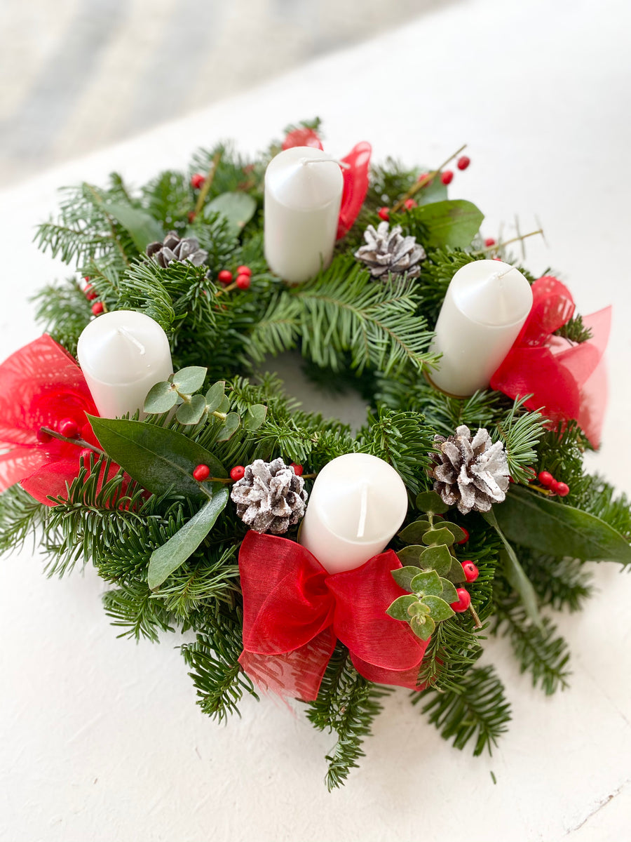 Christmas fir wreath in Red color
