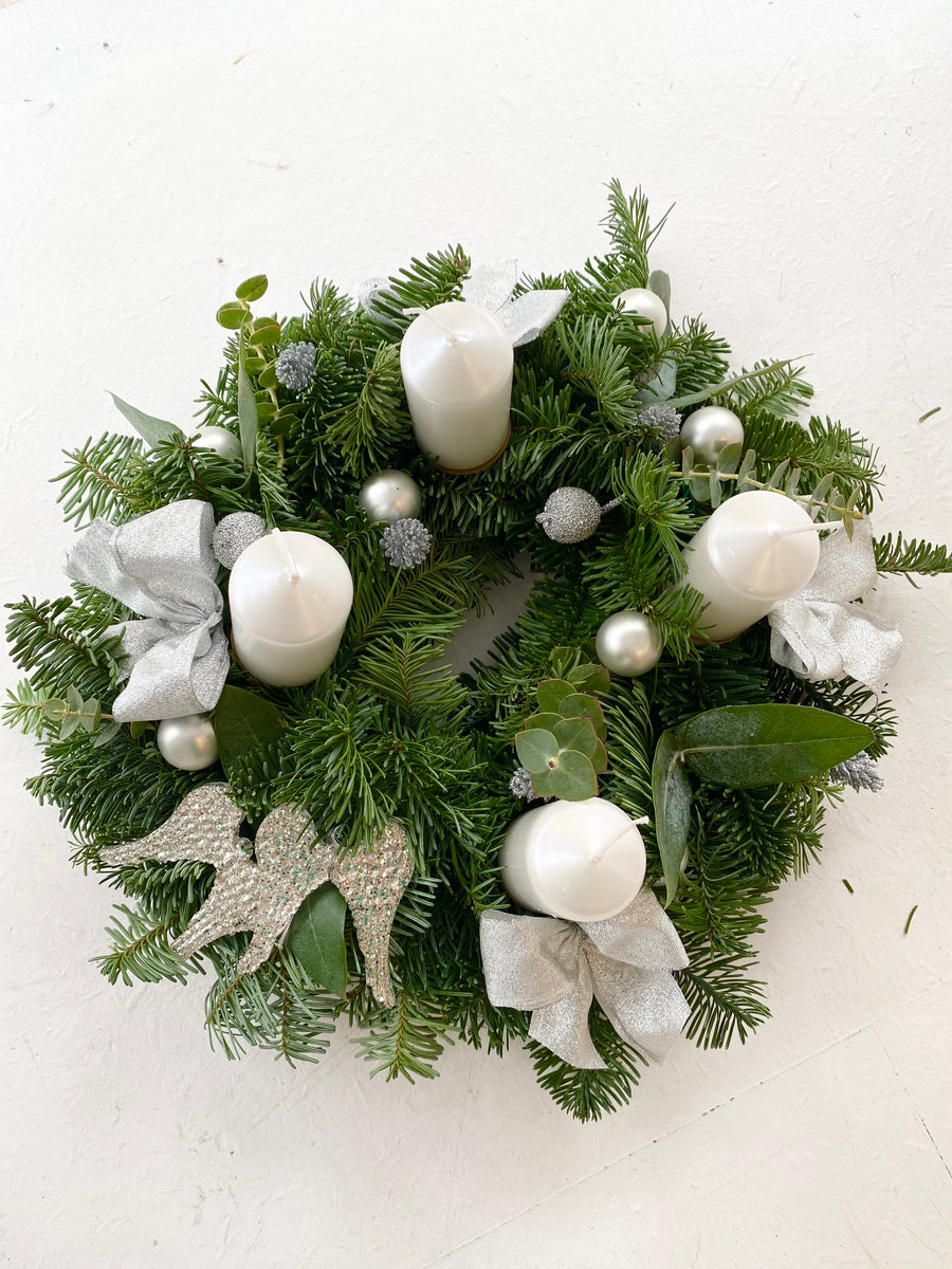 Christmas fir wreath in Silver color