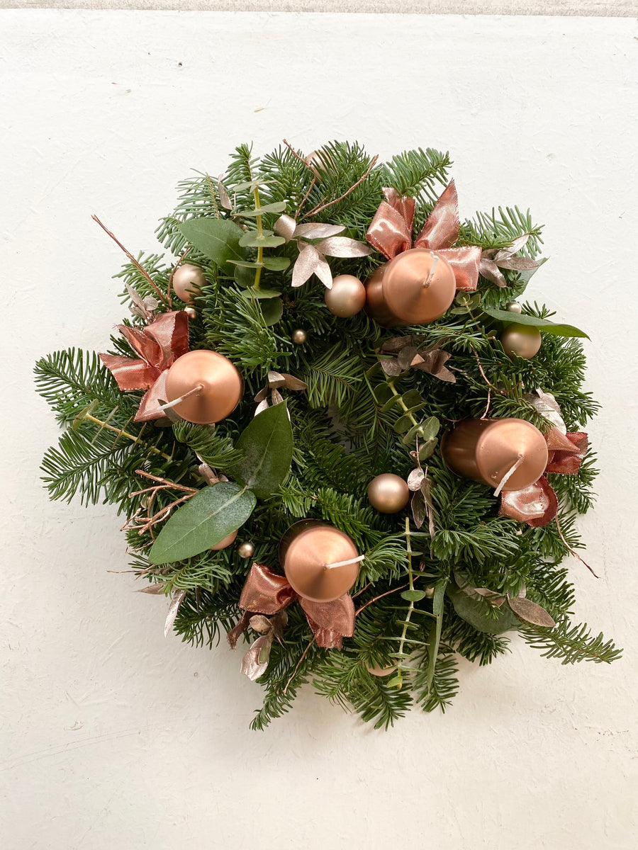 Christmas fir wreath in Rose gold color