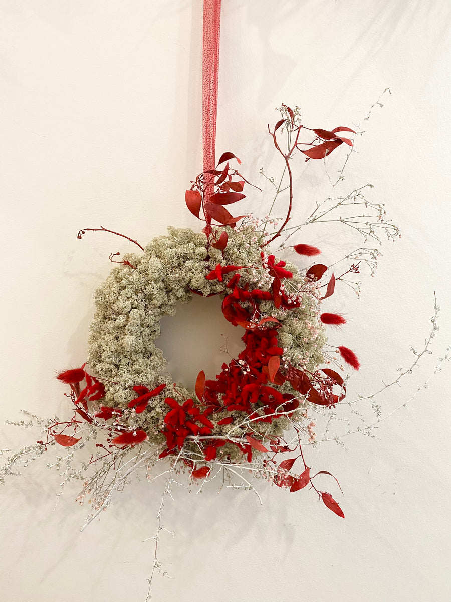 Christmas Moss wreath with Red color, ⌀35cm