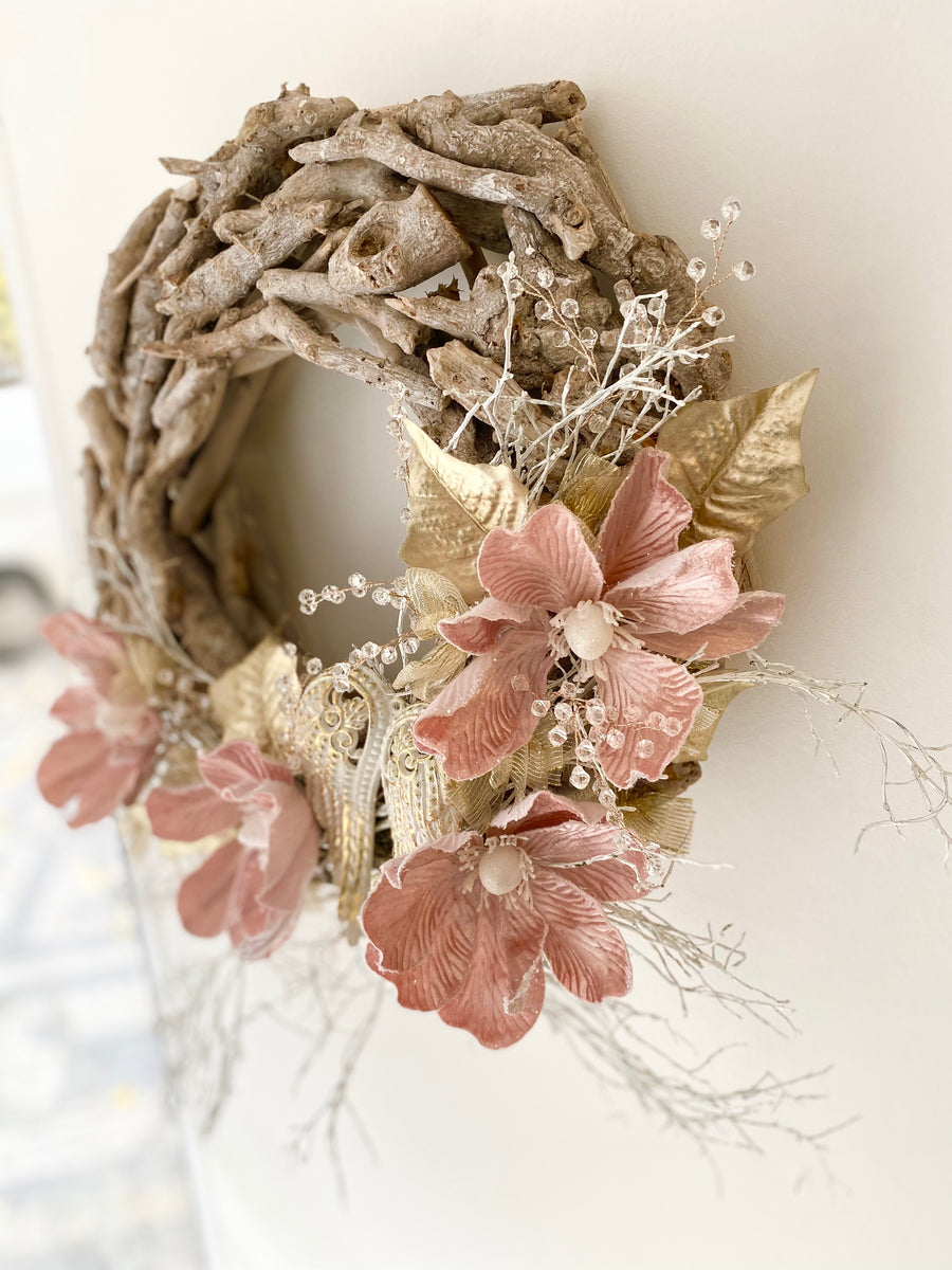 Christmas wreath with Pink flowers & Crystals, ⌀40cm