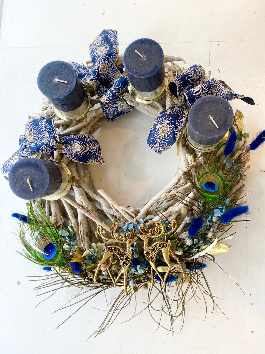 Christmas wreath with Peacock feather, ⌀50cm