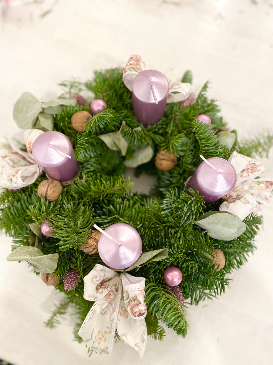 Christmas fir wreath in Purple color