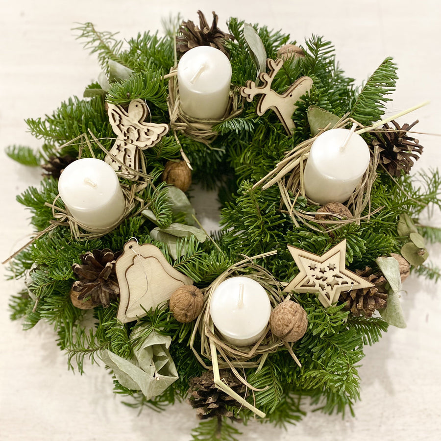 Christmas fir wreath in Natural color