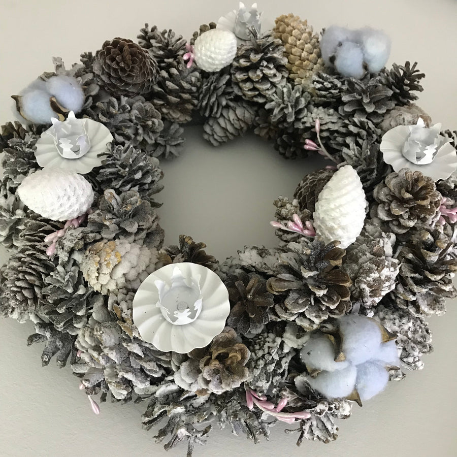 Christmas pinecone wreath in White & Silver color