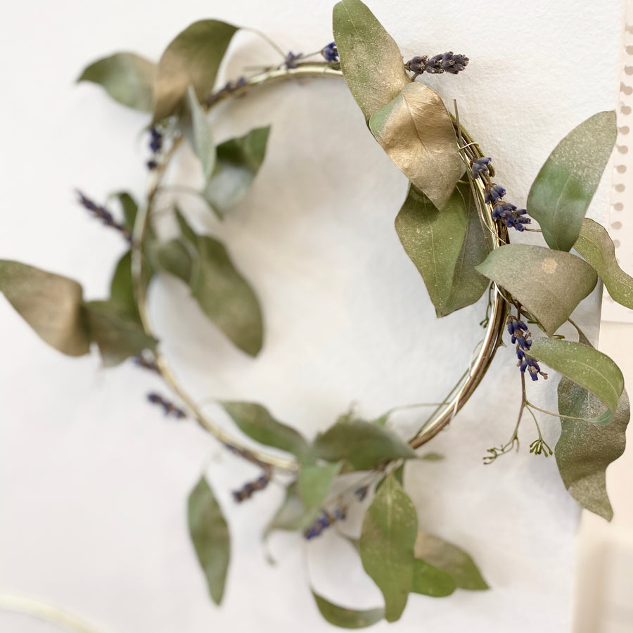 Gold ring with Eucalyptus and Lavender