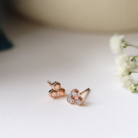 Trilogy Mismatched Diamond Stud Earrings in 9ct Rose Gold