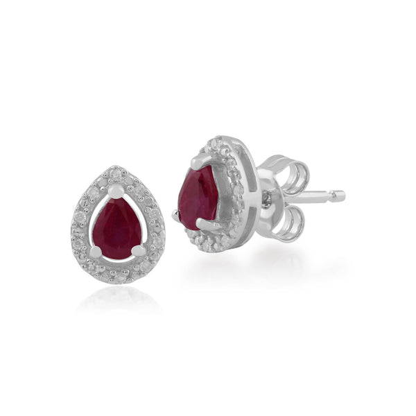 Classic Ruby & Diamond Halo Stud Earrings Image 1
