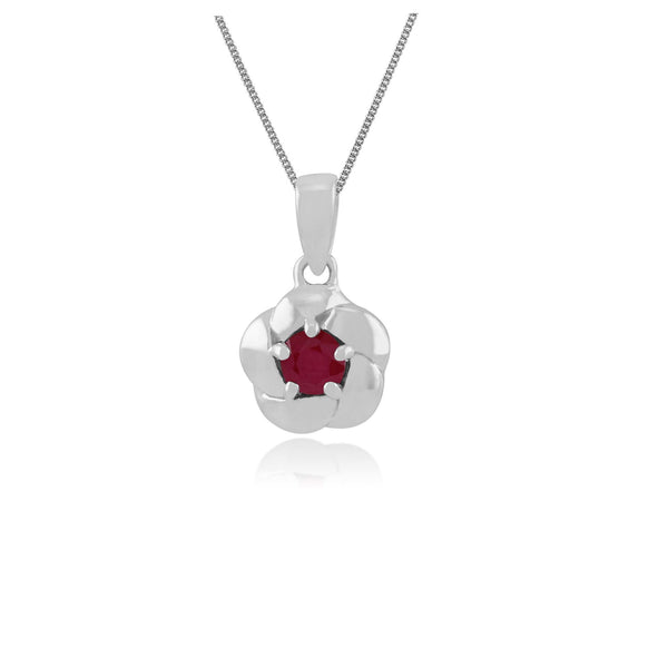 Ruby Plaited Necklace In 9ct White Gold Image 1