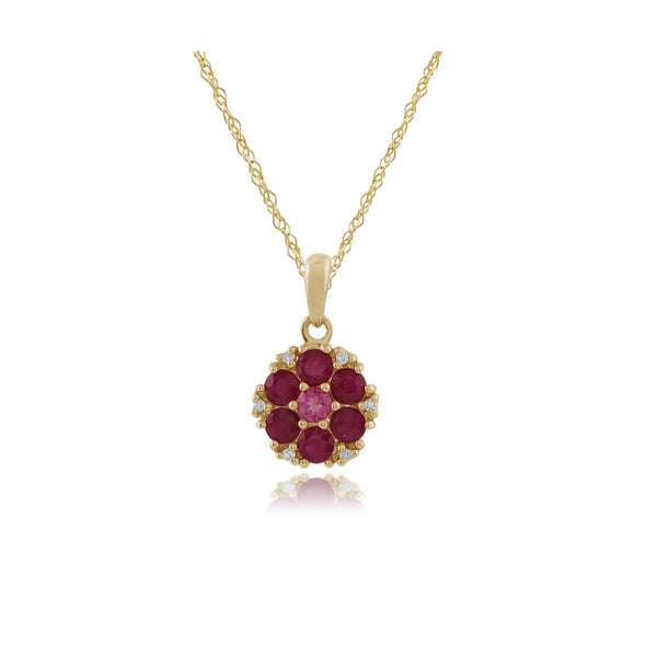 Floral Ruby, Pink Tourmaline & Diamond Locket Pendant on Chain Image 1